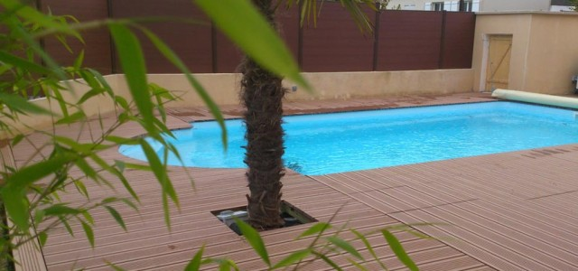 Plage piscine bois composite Essonne